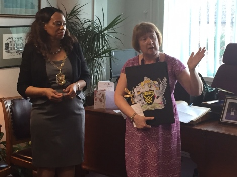 (l-r) Mayor of Merton Councillor Brenda Fraser with director of children, schools and families Yvette Stanley