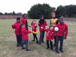 Cabinet Member for Education, Councillor Caroline Cooper-Marbiah and Cabinet Member for Children's Services, Councillor Katy Neep with pupils from Lonesome Primary School in Mitcham who are encouraging residents to fill in the Great Weight Debate survey