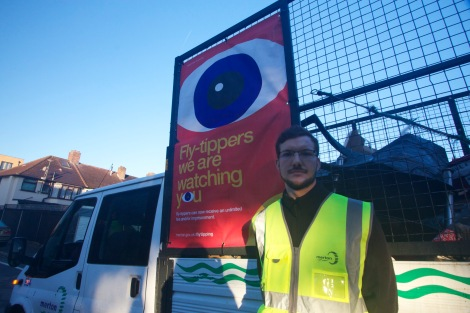An early morning start for Cllr Ross Garrod as he helps the fly-tipping crew on a round