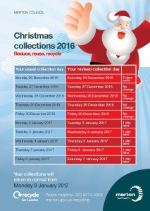 Click on the image for the Christmas rubbish and recycling collection times