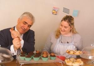 Merton Council's leader, Councillor Stephen Alambritis with Clare Alder at Willow Bough Tea Rooms