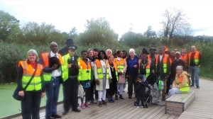 Mayor of Merton Cllr Marsie Skeete with fellow peace walkers including Deputy Mayor Cllr Judy Saunders (far left), Leader of the council Cllr Stephen Alambritis and Cllr Nick Draper.