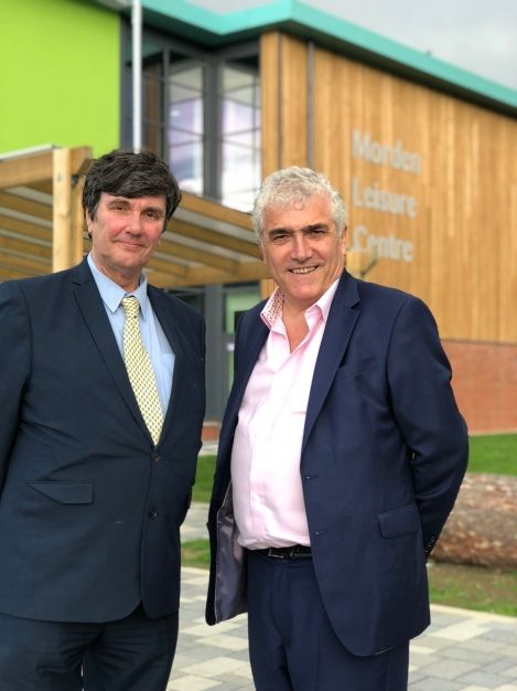 Leader of the council, Cllr Stephen Alambritis and Cabinet member for community and culture Cllr Nick Draper outside Morden Leisure Centre.